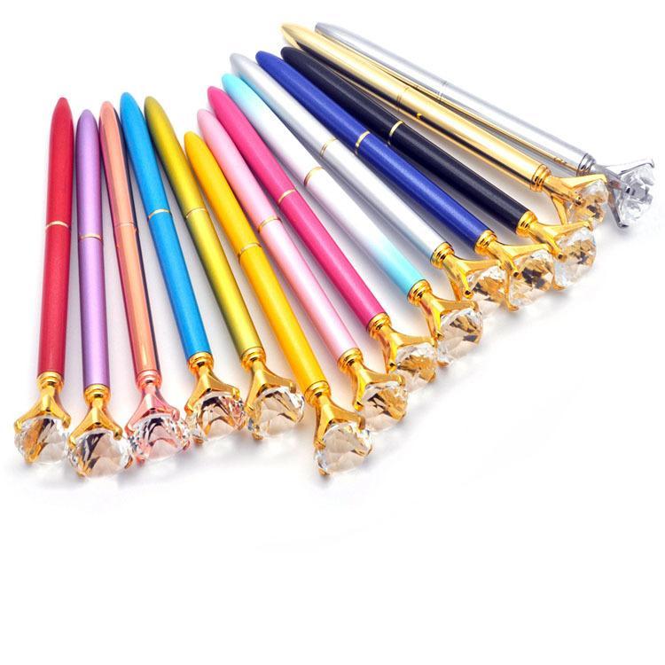Grande Carat Diamond Crystal Pen Gem Ballpoint Caneta Anel de Casamento Metal Anel Roller Ball Caneta Moda Escola Escola Suprimentos
