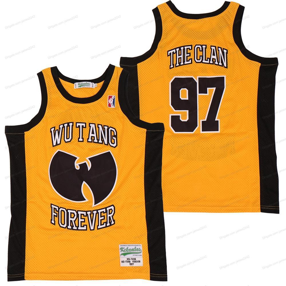 Bon marché Wu Tang pour toujours # 97 The Clan Basketball Jerseys cousu Hip Hop Rap Shirts Hommes Taille Jaune S-3XL Livraison Gratuite Qualité supérieure