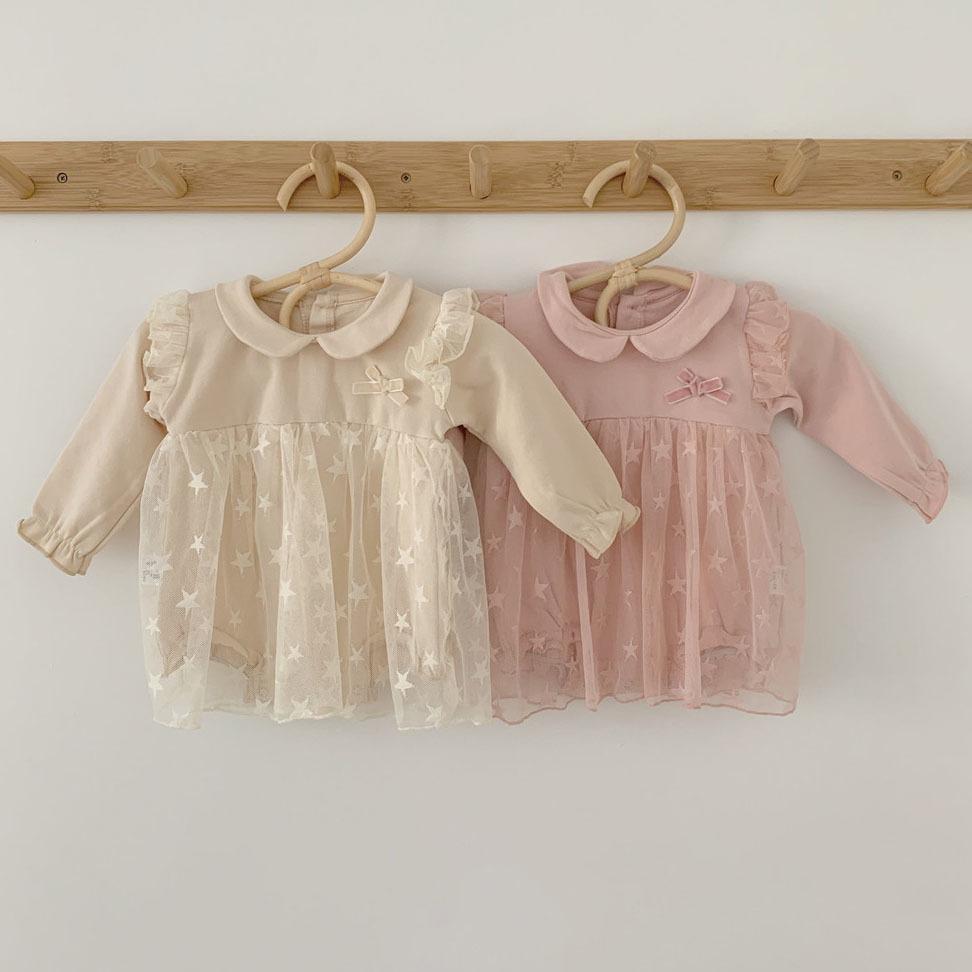 Bebek Elbiseler 0-24 M Uzun Kollu Bebek Kız Tulum Sonbahar Kız Prenses Elbise Dantel Tül Doğum Günü Partisi Çocuk Giyim Q1223