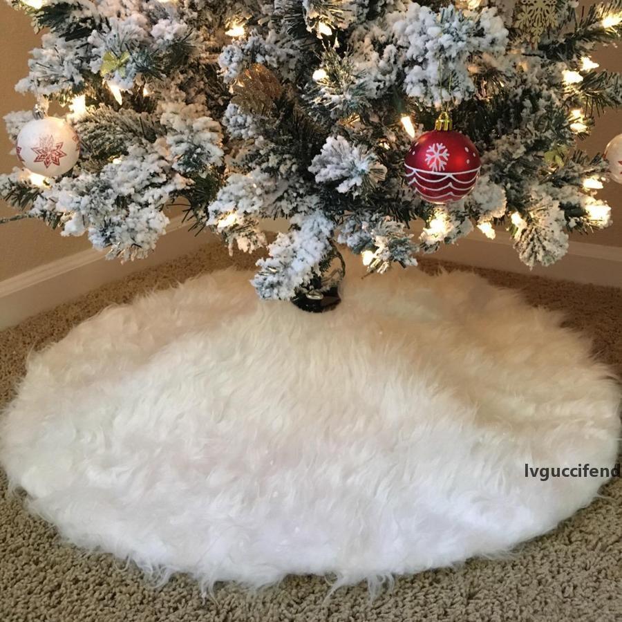 78см / 30.7 Рождественские юбки белые роскошные искусственные из искусственного меха украшения плюшевые рождественские деревья юбка Новый год вечеринка рождественские украшения JK1910