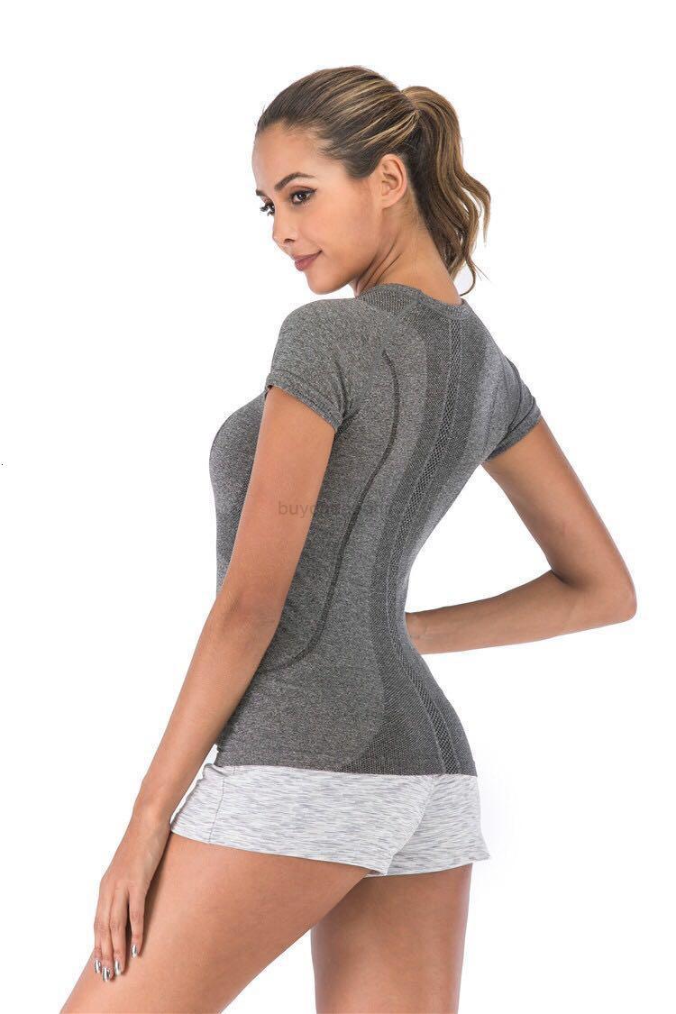Gym Sleeve Gym Gym Yoga fitness t Short Camicia Donna Manica lunga Manica lunga Yoga Top Womens Gym Tops Sport Wear Donne Gym in esecuzione Top Yogaworld