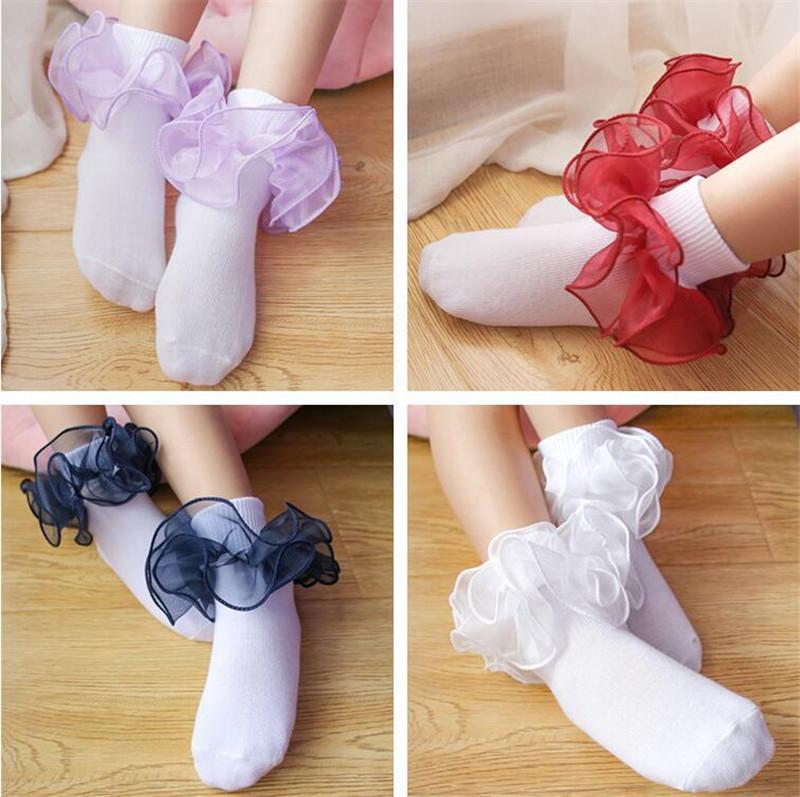 Çocuklar Bebek Çorap Kız Pamuk Dantel Üç boyutlu fırfır Çorap bebek Toddler'in çorap Çocuk giyim Yılbaşı Hediyeleri moda sıcak yeni