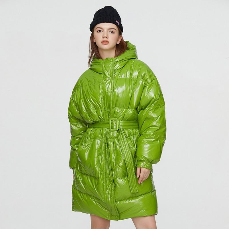 Janveny Aşağı Ceket Kış Kadınlar 2020 Uzun Parka Kirpi Tüy Aşağı Ceket 90% Ördek Aşağı Ceket Kemer Su Geçirmez Parlak Palto C1204