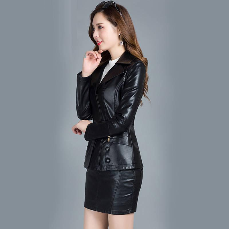 of Leather the Fake Female Turn Down Collar Autumn Motorcycle Outerwear Black Plutonium 2020 Jacket Vhfz