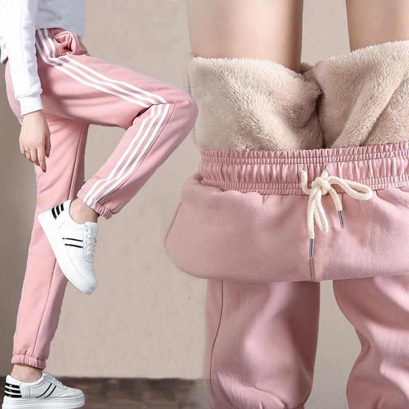 Pantalon de sport de velours d'imitation surdimensionné d'agneau de velours pour femmes hiver épais coton plus taille extérieure vêtements chaleureux pantalons occasionnels 201228