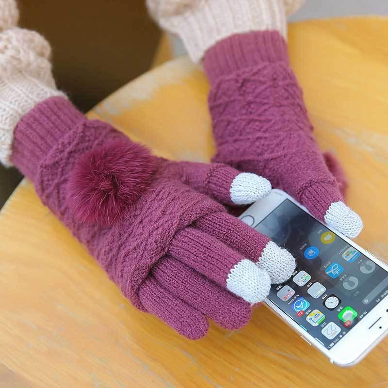 Guanti touch screen donna inverno caldo doppio strato separabile guanti senza dita femmina pom pom pomsami femme