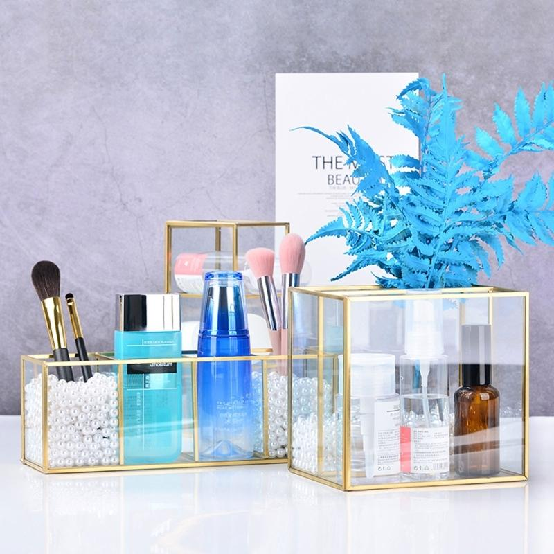 Gold Glass Trucco Brush Holder Storage Container Ring HearRing Holder Portacinetto Vetro Decorativo Pen Matita Pen Matita Display Beauty Dlay Q0125