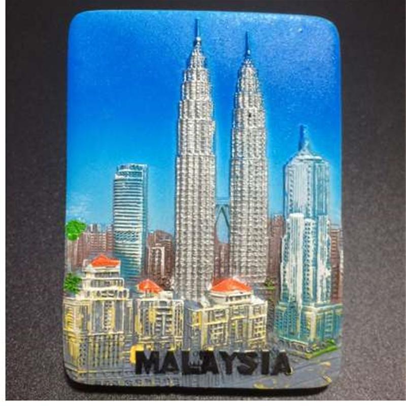 Сувениры Малайзия Магнит Магнит для холодильников Турист 1 шт. Kuala New Lumpur Petronas Twin Towers Декоративный Холодильник Магнитный SticxHPN8S