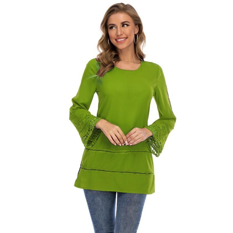 Blusas para mujer Camisetas Ropa de otoño para mujeres 2021 Flae de moda de manga larga Top de encaje Patchwork Blusa de gasa Plus Tamaño Ropa femenina C
