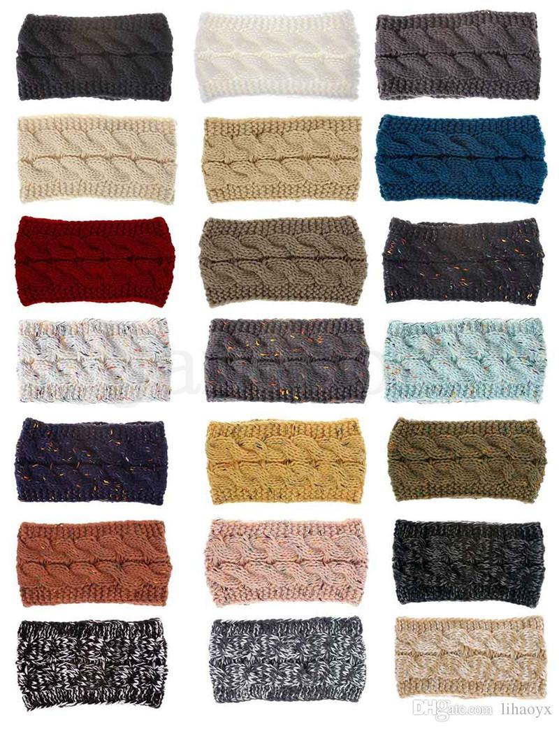 Women's Knitted Hat Winter Warm Beanies High Stretch Twisted Cable Knit Bun Ponytail Hats Cap Girls Turban Hat Head Warmer 21 colors DC978