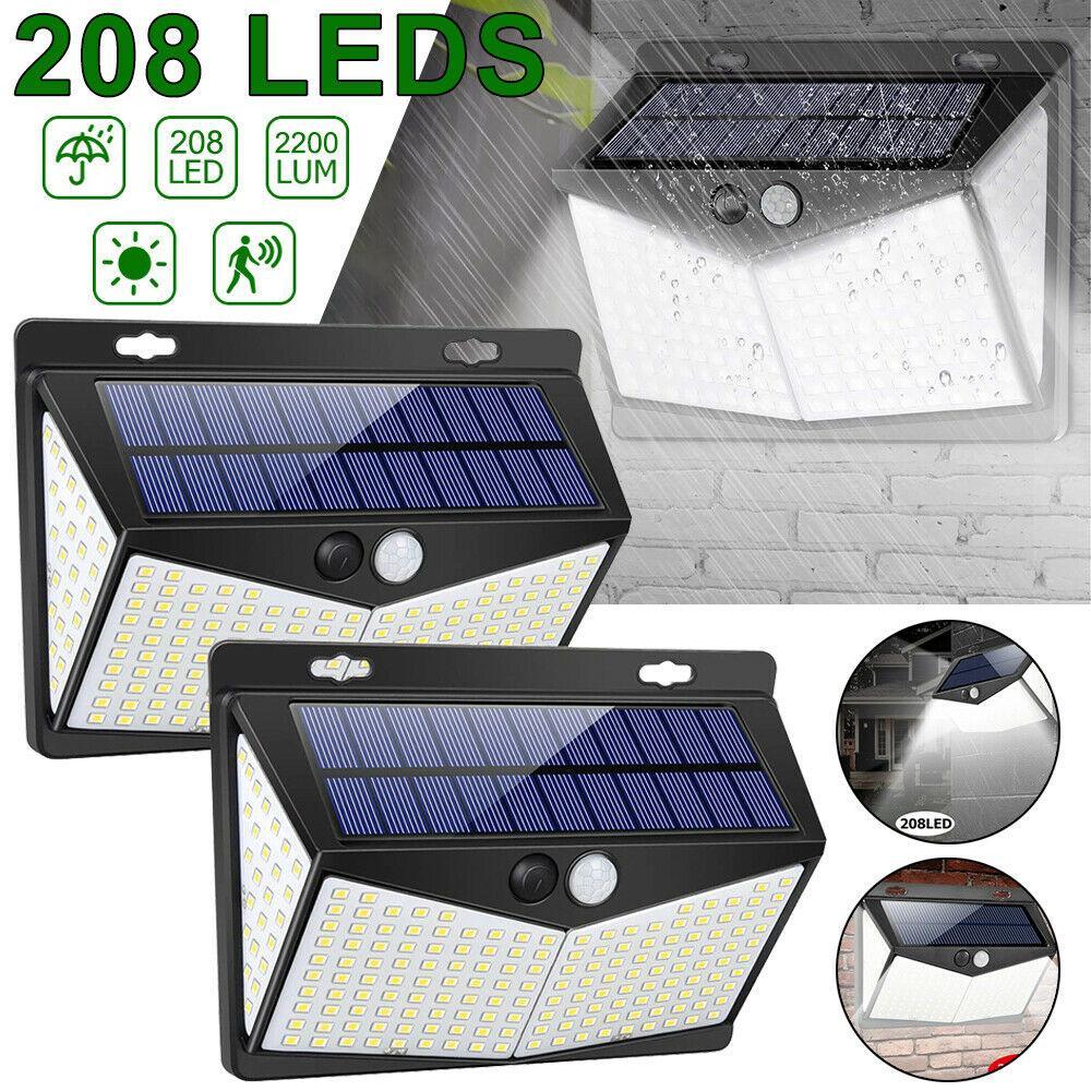 208 LED Güneş Enerjisi PIR Hareket Sensörü Gece Lambası Açık Aydınlatma Bahçe Yard Duvar Lambası Akıllı Güvenlik Su Geçirmez Güneş Işığı Powered Sokak Aydınlatma