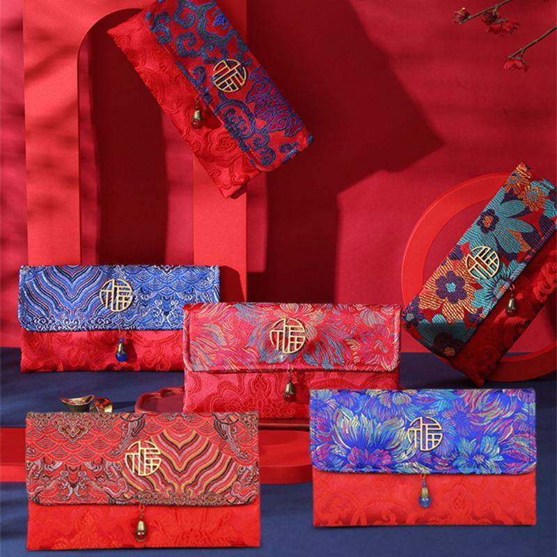 Tarjetas de felicitación Estilo Sed Sobres Red Sobres China 2021 Año Hongbao Lucky Bolsets con la tarjeta para el sobre del festival de primavera