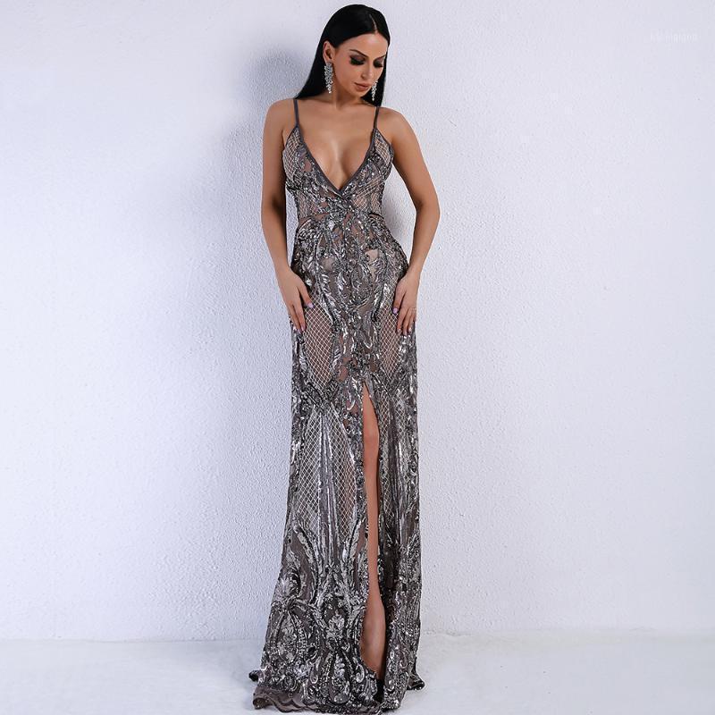Платья для вечеринок Модная Знаменитость Сексуальные Женщины Глубокие V-образные Шейр Холтер Высокая Сплит Перспектива Пустоте Ночное Платье Оптовые1
