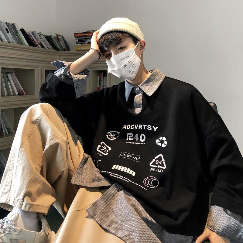 Футболки свободные свитера Мужская мода Марка Универсальный Поддельный Двухкусочный Топ Корейский моды Сращивание Coat Ins пары