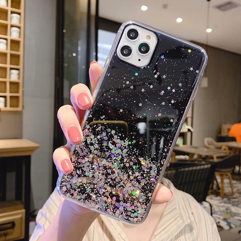 Bling Glitter Telefon Kılıfı iphone 12 11 Pro Max XR XS 8 Artı Samsung Galaxy S10 S20 Temizle Yumuşak TPU Yıldız Koruyucu Kapak