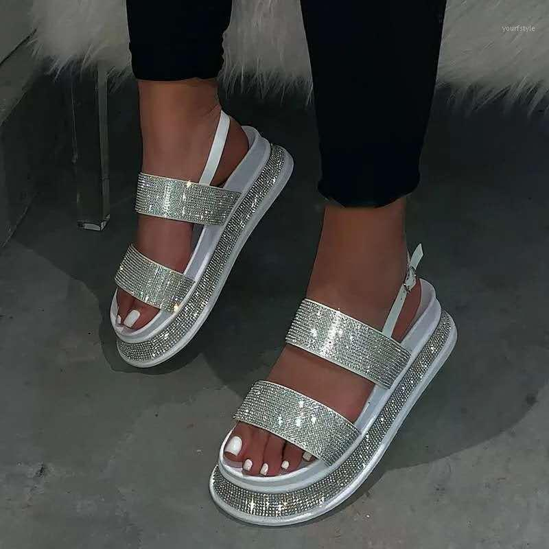 Summer Beach Bling Bling Crystal Roma Sandalias Sandalias Rhinestone Plataforma Cortes Cuñas Sandalias Zapatos Mujer1
