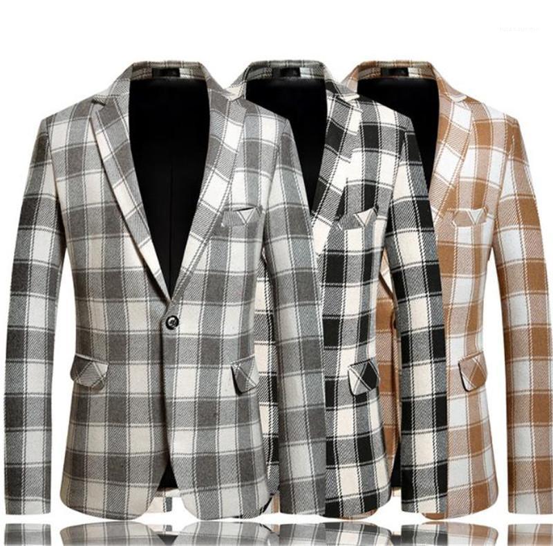 Slim Revers Collar Langarm Anzug Jacken Mens Fashion Coats Herren Designer Jacken Plaid Gedruckt Herbst und Winter Casual