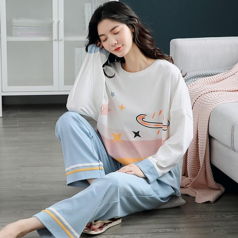 Autunno Inverno Cotton Cartoon Pigiama Set Donne Pigiama Home Doppia Allestimento A Misura Lunga Plus Size Slip Night Suit Female Pijama