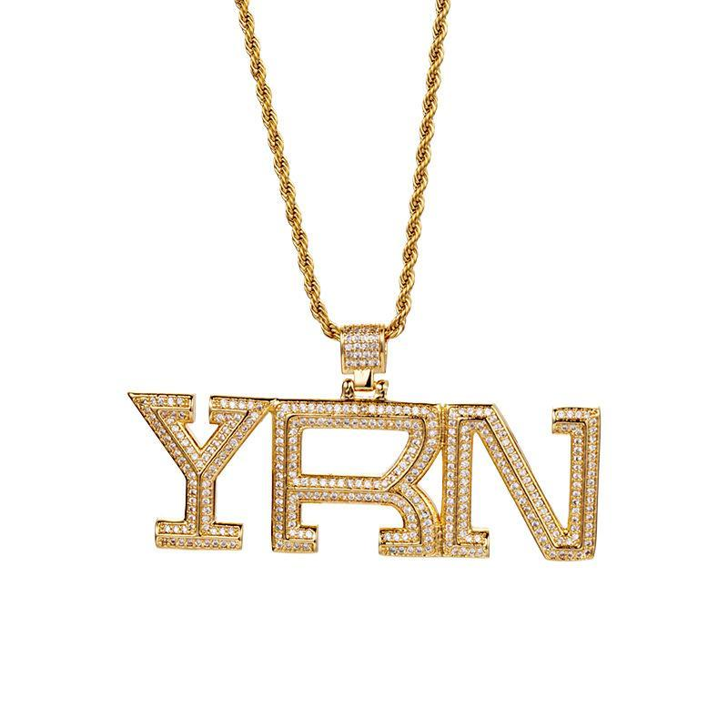 Hip-Hop Euro-Out-Bling Yrn CZ Anhänger vergoldet Kette Halskette für Männer Frauen mit 24-Zoll-Edelstahl-Seilkette