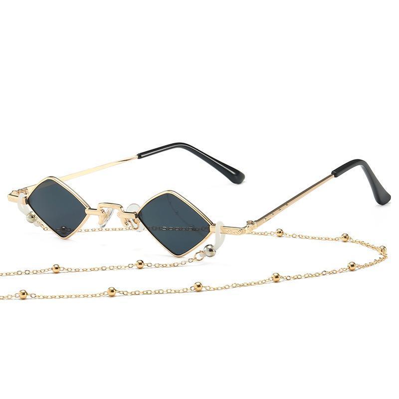 Moda Tasarımcısı Kadın Erkek Güneş Gözlüğü Metal Çerçeve Lüks Elmas Zincir Güneş Gözlükleri Ile Şekilli UV400
