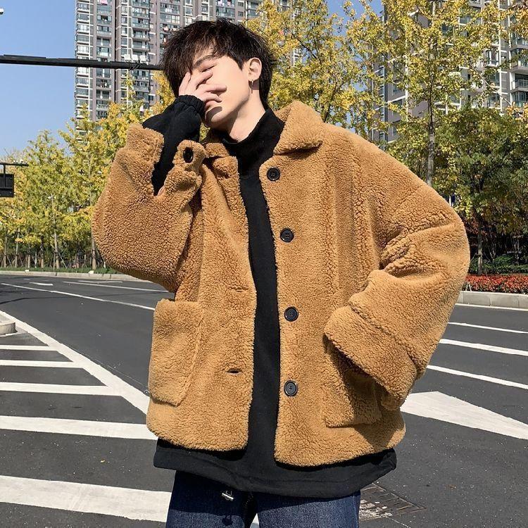 Herren Down Parkas Winterstil Warmes Paar Baumwolle gepolsterte Kleidung lose und vielseitig College Lamm Plüsch Mantel für Männer