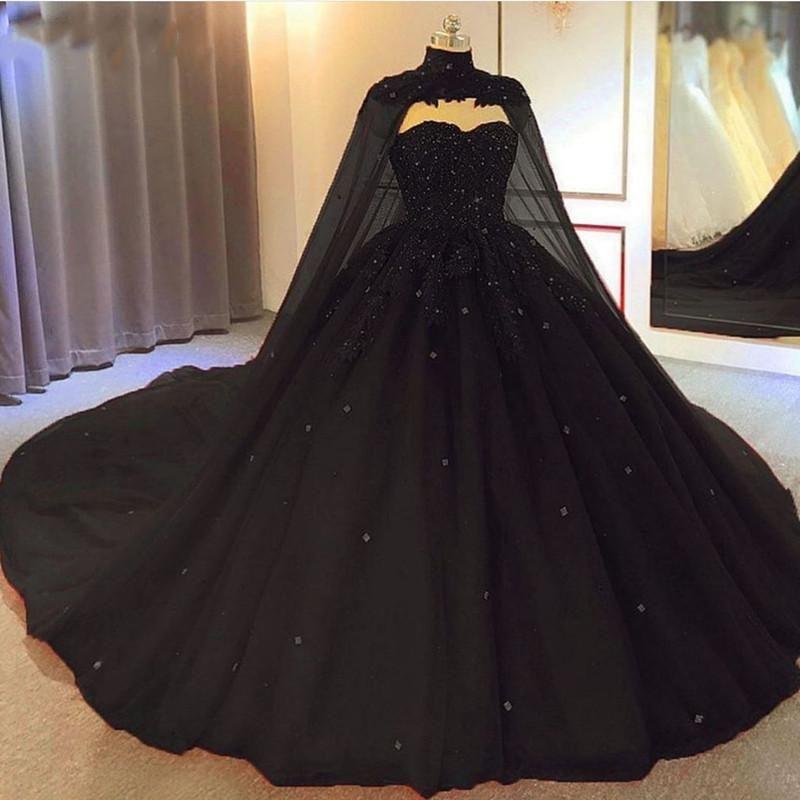 2021 robe de boules noire robes de mariée gothique avec cape chérie perlée tulle princesse robes de mariée non blanche plus corset