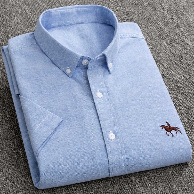 New S a 6xl manica corta 100% cotone oxford morbido comodo regolare vestibilità regolare plus size qualità estate business uomini camicie casual
