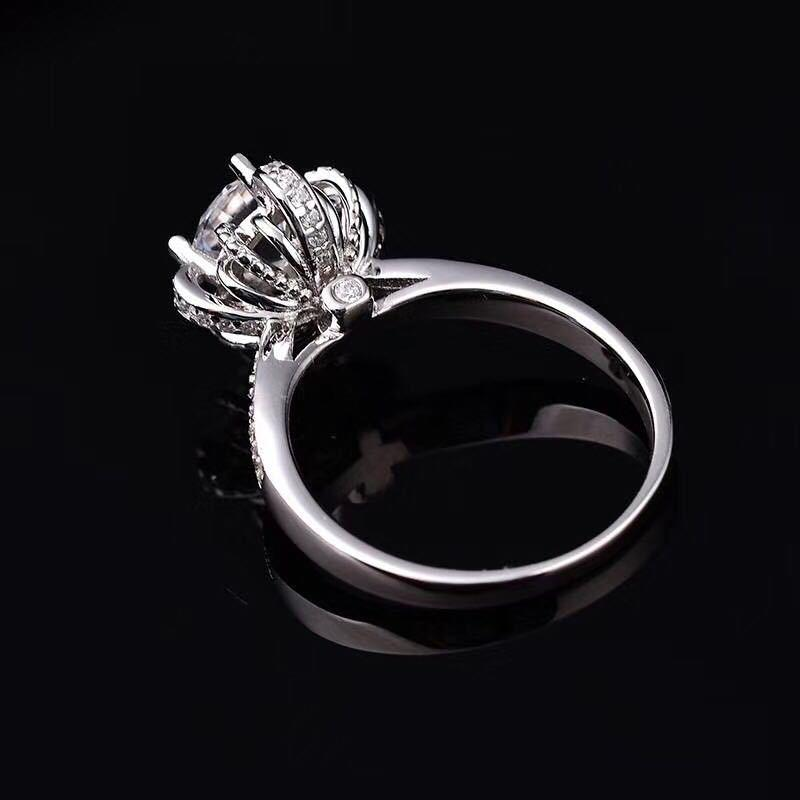 NPKDS Luxury Elegant Creativity Wishing Fountain Ring Zircon Ring Hearts Arrows Zirconia Wedding Jewelry Rings Engagement Gift