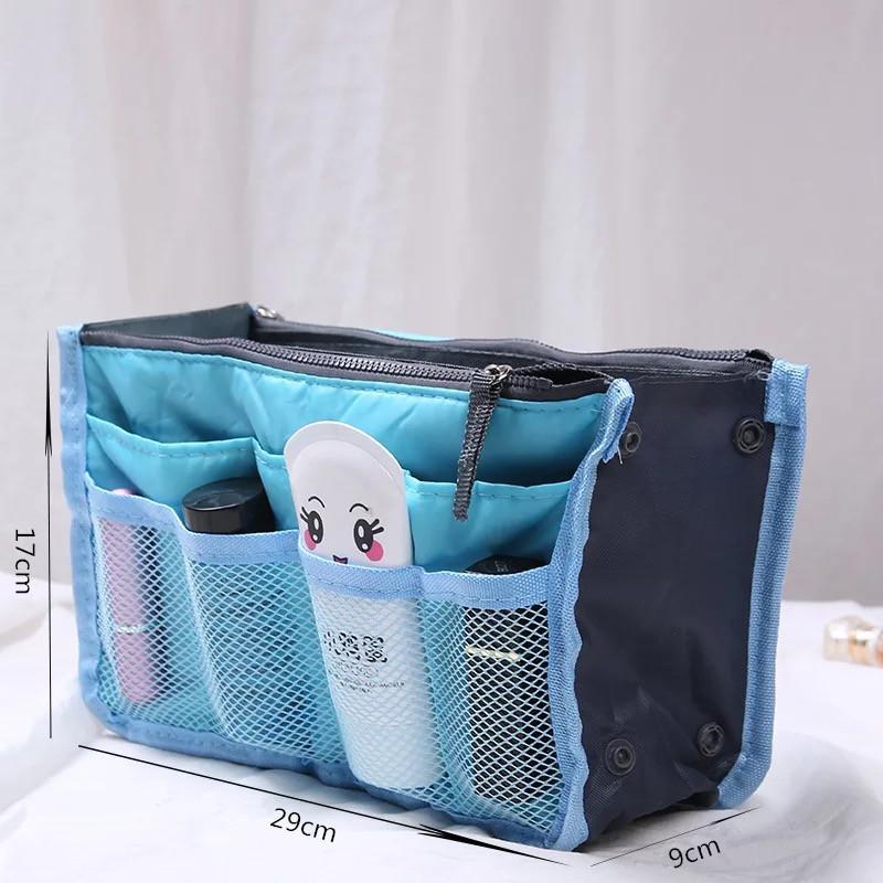 Makeup Kosmetisches Kit für Frauen Tasche Organizer Doppelbeutel Handtasche Pflege Zipper Einsatz Nylon Reisen Große Tote Toilettenartikel Geldbörse WDCQX
