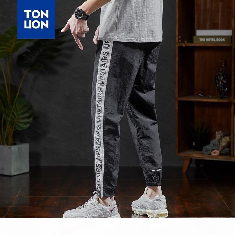 남성 스트라이프 스 플라이 싱 전체 길이 바지 망 패션 남성 스포츠 경량 봄 여름 2020 년에 대한 톤 레이션 탄성 허리 바지
