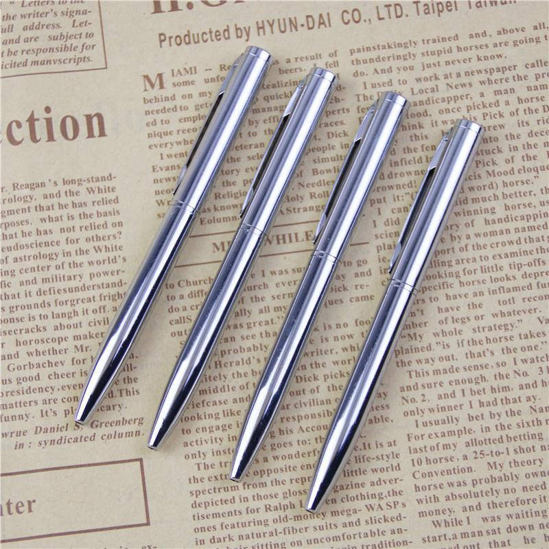 1 pcs mini caneta esferográfica de metal girando caneta de bolso Ponto de bola portátil