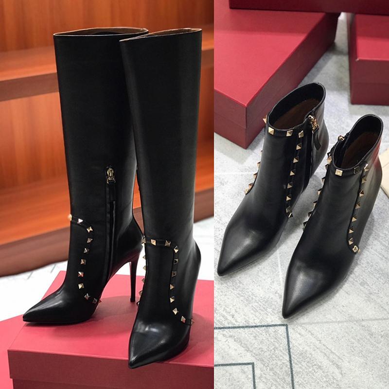 202 1 новая мода топ женские высокие каблуки обувь зимние ботильоны с тележками заклепки Австралия ковбой над коленом Мартин колен