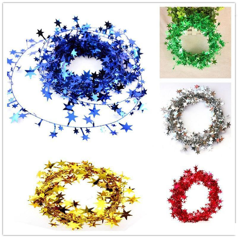 5 M Asılı Yıldız Çam Tinsel Süs Garland Noel Dekorasyon Ağacı 5 Renkler ST3S