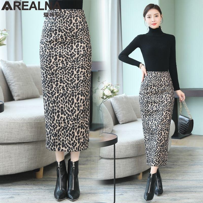 Leopard long skirt women high waist punk rock skirt midi skirts womens sexy winter streetwear Woolen pencil skirt jupe femme Q0119