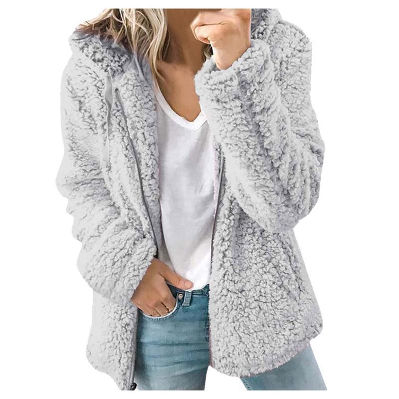 Senhoras Quentes Casaco Faux Casaco Streetwear Casaco Casaco de Inverno O-pescoço Sólido Sólido Outerwear Mulheres Mulheres Sólidas Cores Casacos # T2G