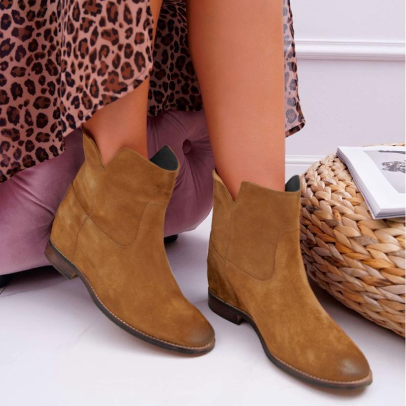 Bottes Femmes Talon plat Tout Saison Troupelle Full Couleur Solid Vintage Chaussures Lowes De Chevale épaisse Casual # G2