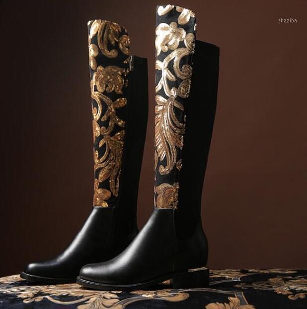 Botlar Moda Kadınlar Bling Altın Sequins Çiçek Siyah Deri Üzerinde Diz Ince Topuk Gerçek Tıknaz Topuklu Knight Shoes1