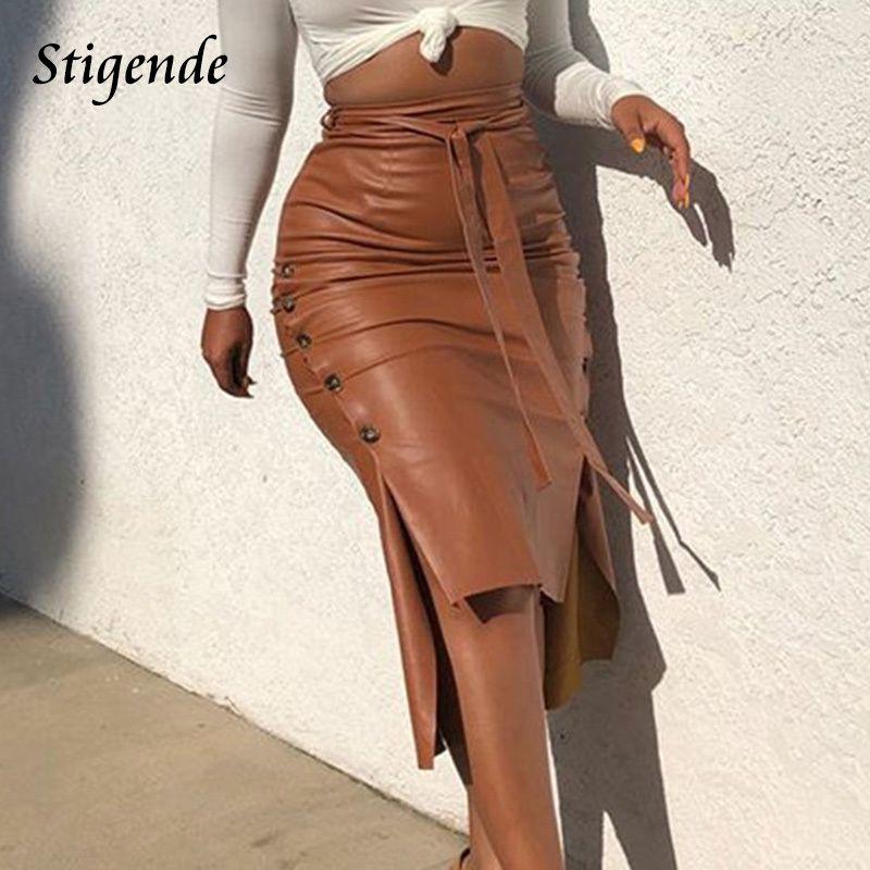 Stigende Women Sexy Bandage Pu Leather Party Skirt Fashion Solid Faux Side Button Casual Bodycon Split Midi Q0119