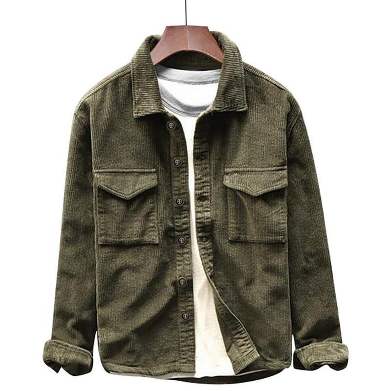 2020 Retro Corduroy мужская рубашка с длинным рукавом Pocket Pocket Skrit Fit 2FF3
