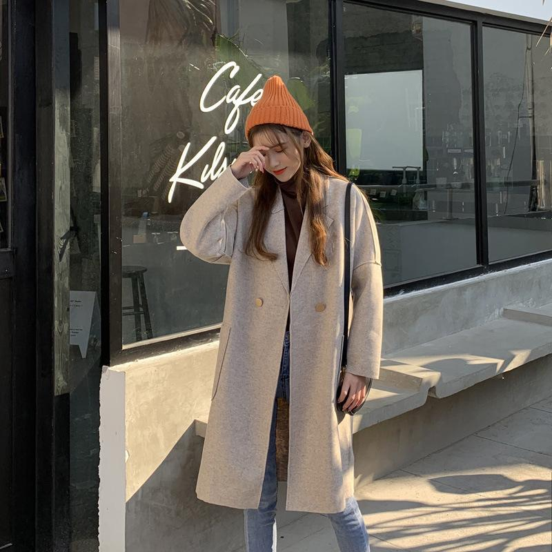 Autumn new coat Korean version loose and thin, Hepburn style medium long solid color winter woolen overcoat woman