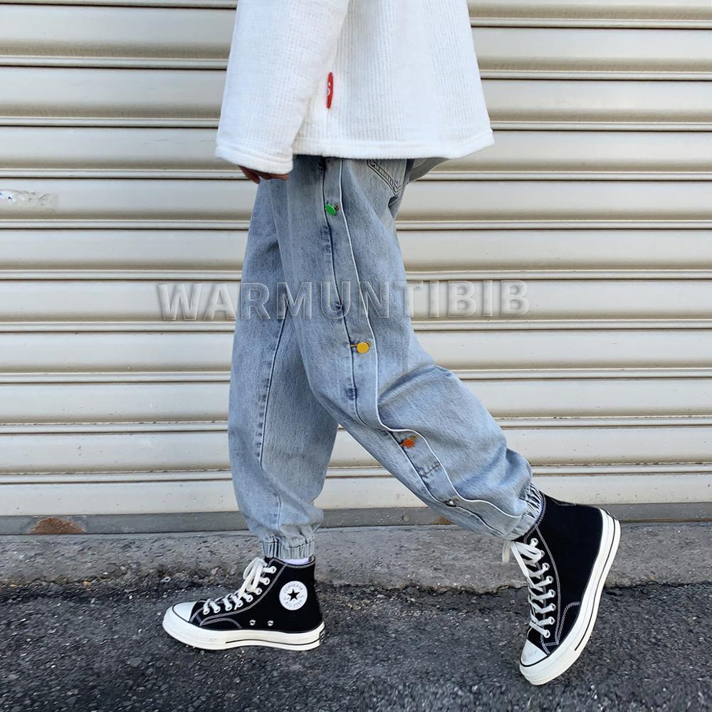2020 Herbst und Winter Neue Männer Solid Color Jeans, Farbknöpfe Dekoration Lose Casual Hose, Mode Jeans Hosen H1209