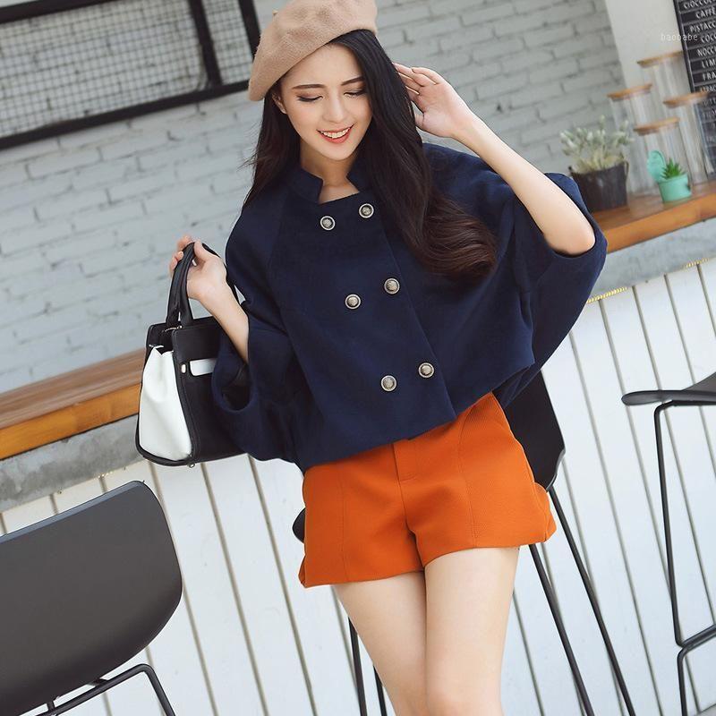 Casual Gevşek Kısa Yün Karışımı Bayanlar Ceket Kruvaze Katı kadın Ceket Tam Kollu Kore Bayan Moda Coat1