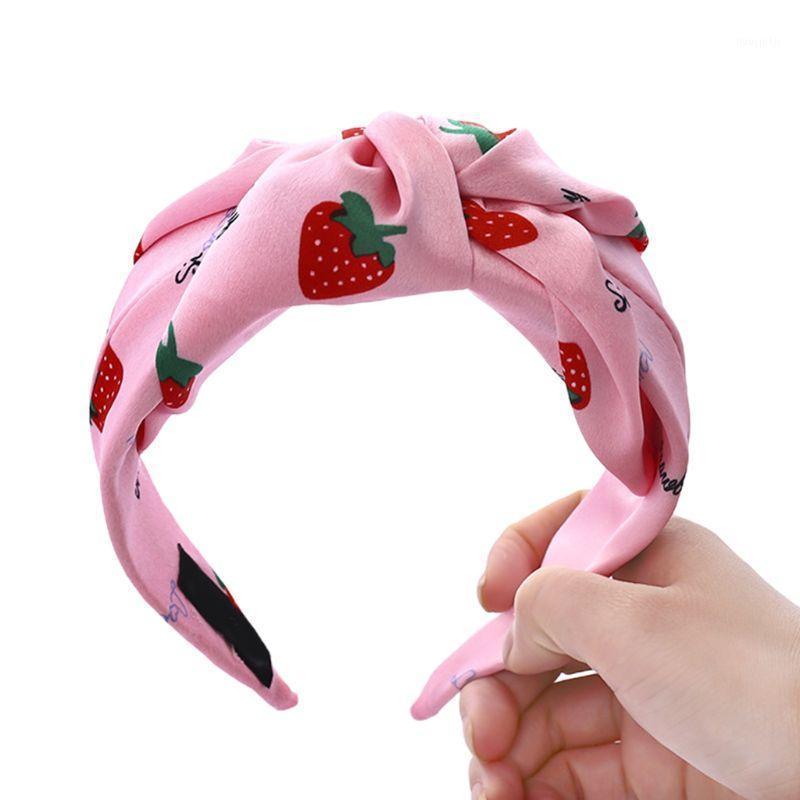 Dulce estampado de fresas pelo aro de pelo mujer brillante caramelo color girar nudo diadema estilo fresco personalidad de verano ancho bandana1