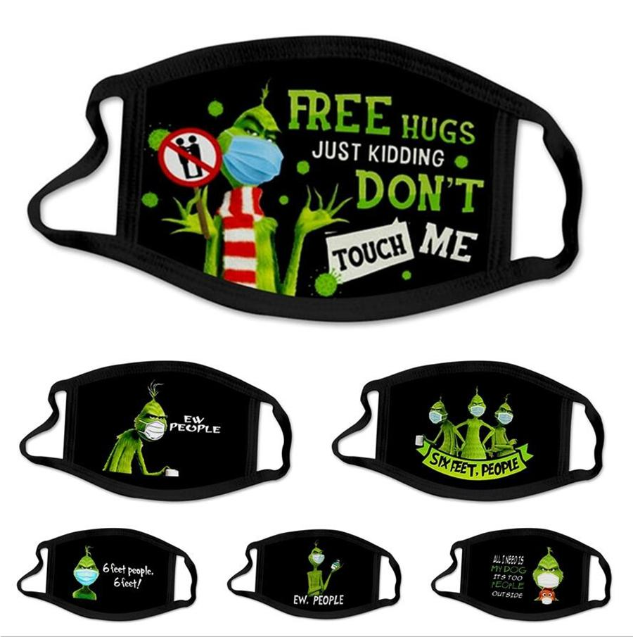 3D Druck Maske Schwarz Baumwolle Grinch Stola Weihnachtsplay Waschbar wiederverwendbarer Staubschutz Erwachsener Außenschutz Mund Abdeckung LJP819