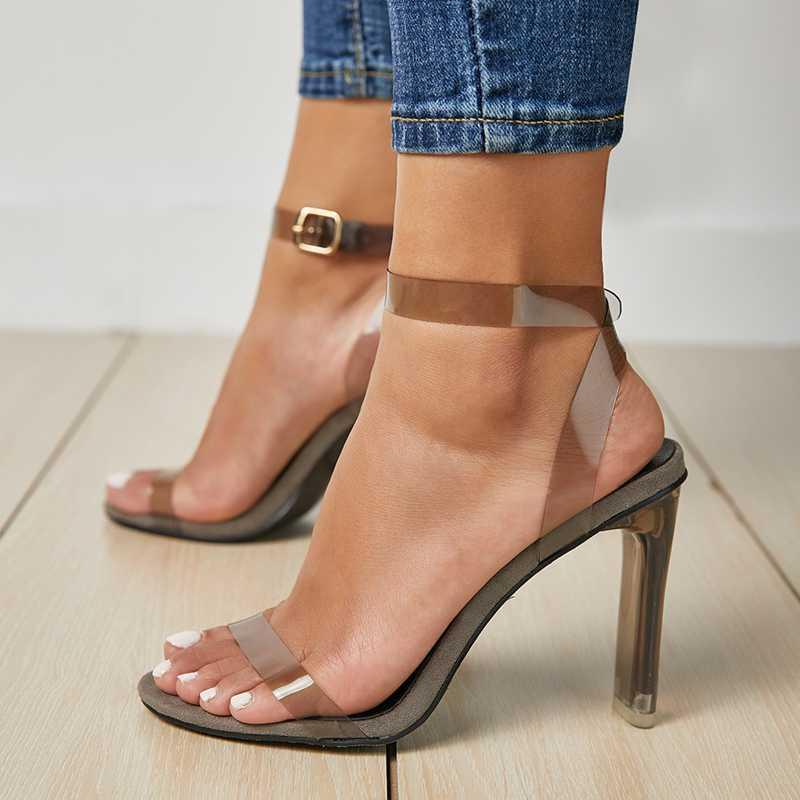 Verão aberto rodada dedo do pé fivela fivela clear pvc mulheres superiores sandálias de cristal sapatos de salto alto para meninas moda
