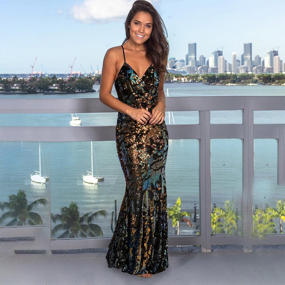 2020 Весна и Лето Новый Женский Ремешок Модное платье Сдержанное вечернее платье