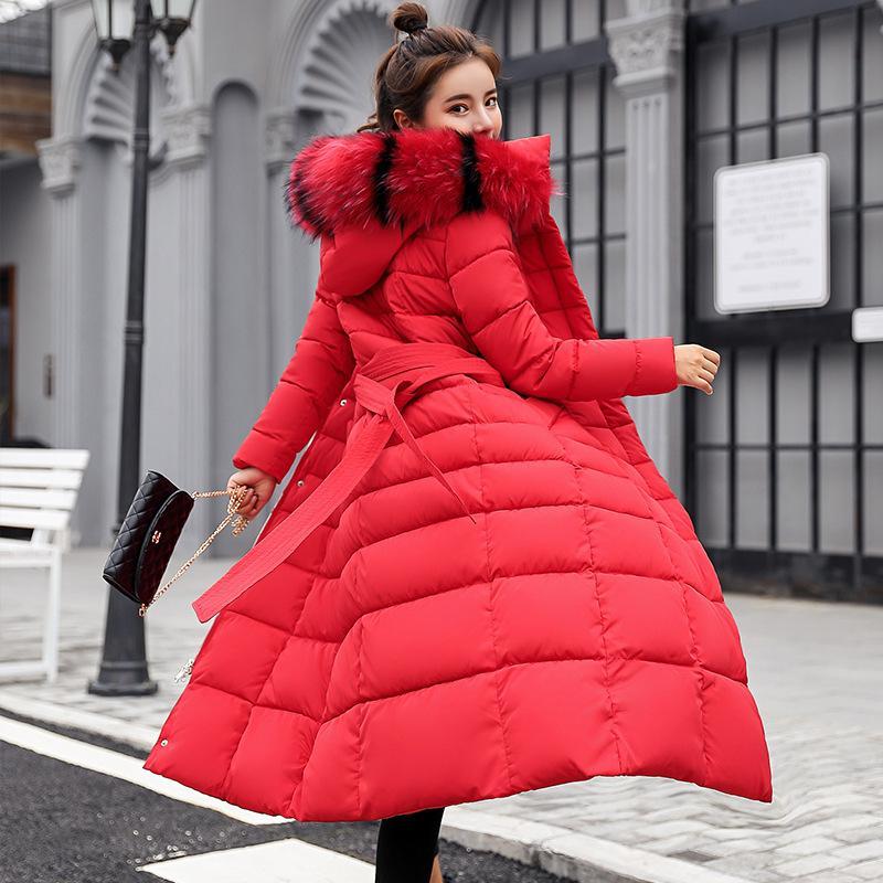 Plus größe frauen winter down mantel kleidung über knie baumwolle gepolsterte pelz dicke dick beiläufig winter mantel lange jacke down parka