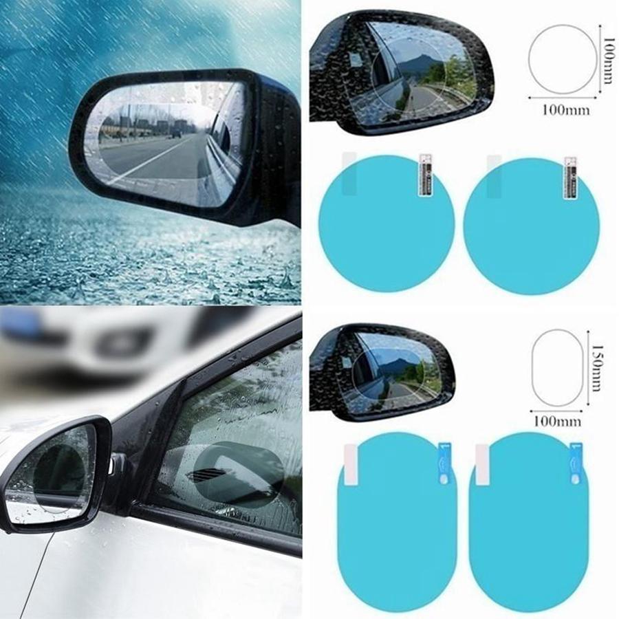 2 teile / satz Regenschutzauto Zubehör Auto Spiegelfenster Klar Filmmembran Anti Nebel Anti-Blendung Wasserdichte Aufkleber Fahrsicherheit RRF2846