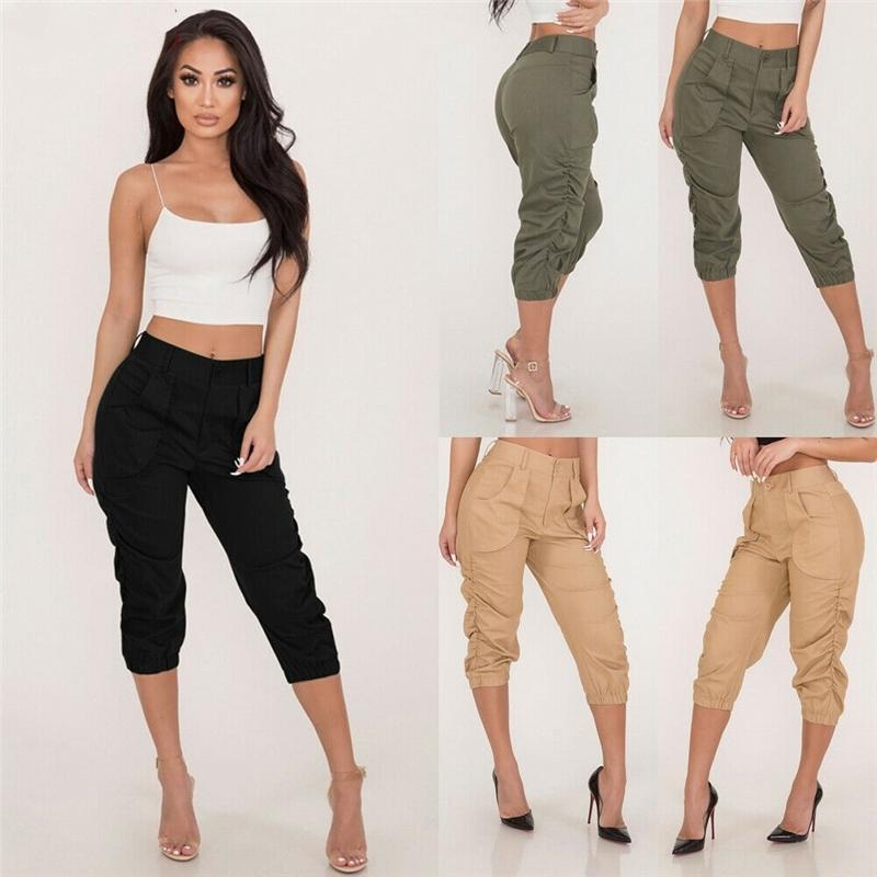 Summer Autumn Ladies 3/4 pantaloni da donna Tre quarti elasticizzato in vita Capri Pantaloni catenati Black Green Khaki Disponibile Skinny Y200418