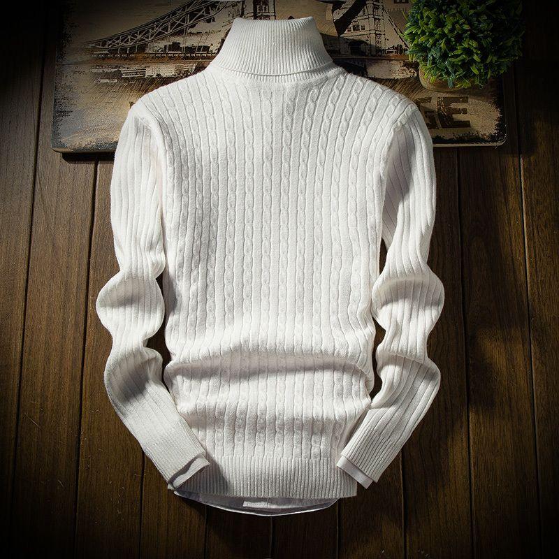 New High Quality Slim Twist Knotting Autunno Inverno TurtrleNeck Maglione Maglione Pullover Uomo Solid M-3XL